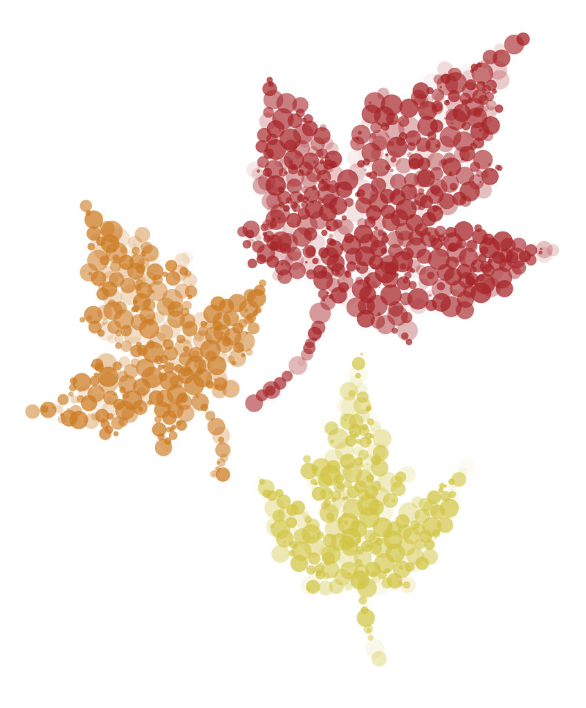 Fall leaves in painted dots