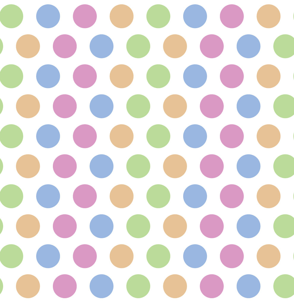 Colorful orange, green, gold, pink and blue polka dots