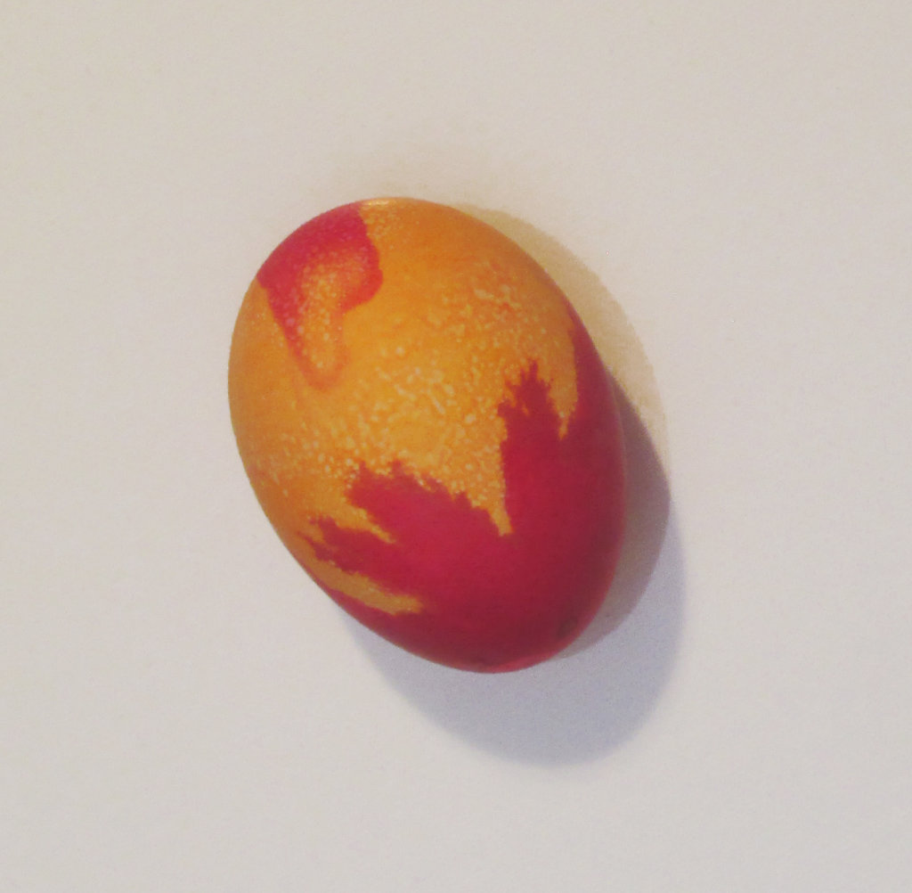 Orange and pink colored egg picture