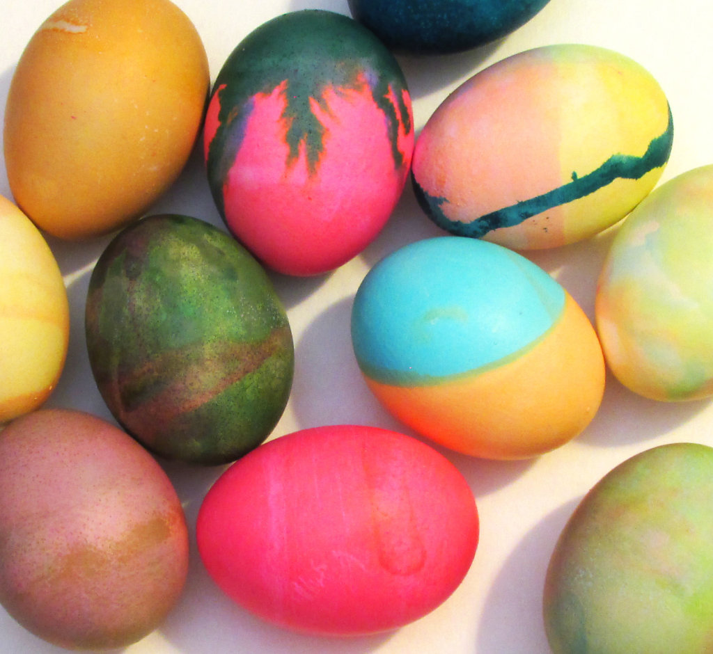 Group of colored Easter eggs photo