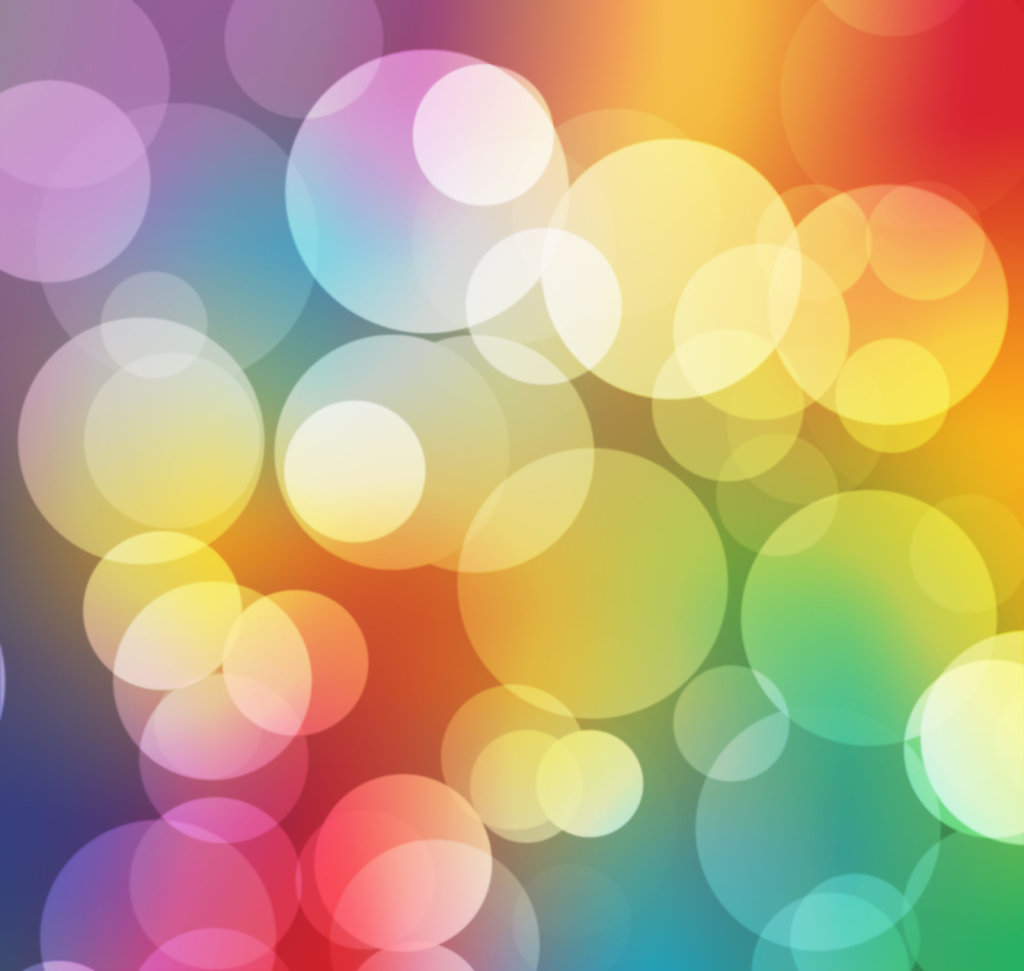 Faux bokeh effect with rainbow background