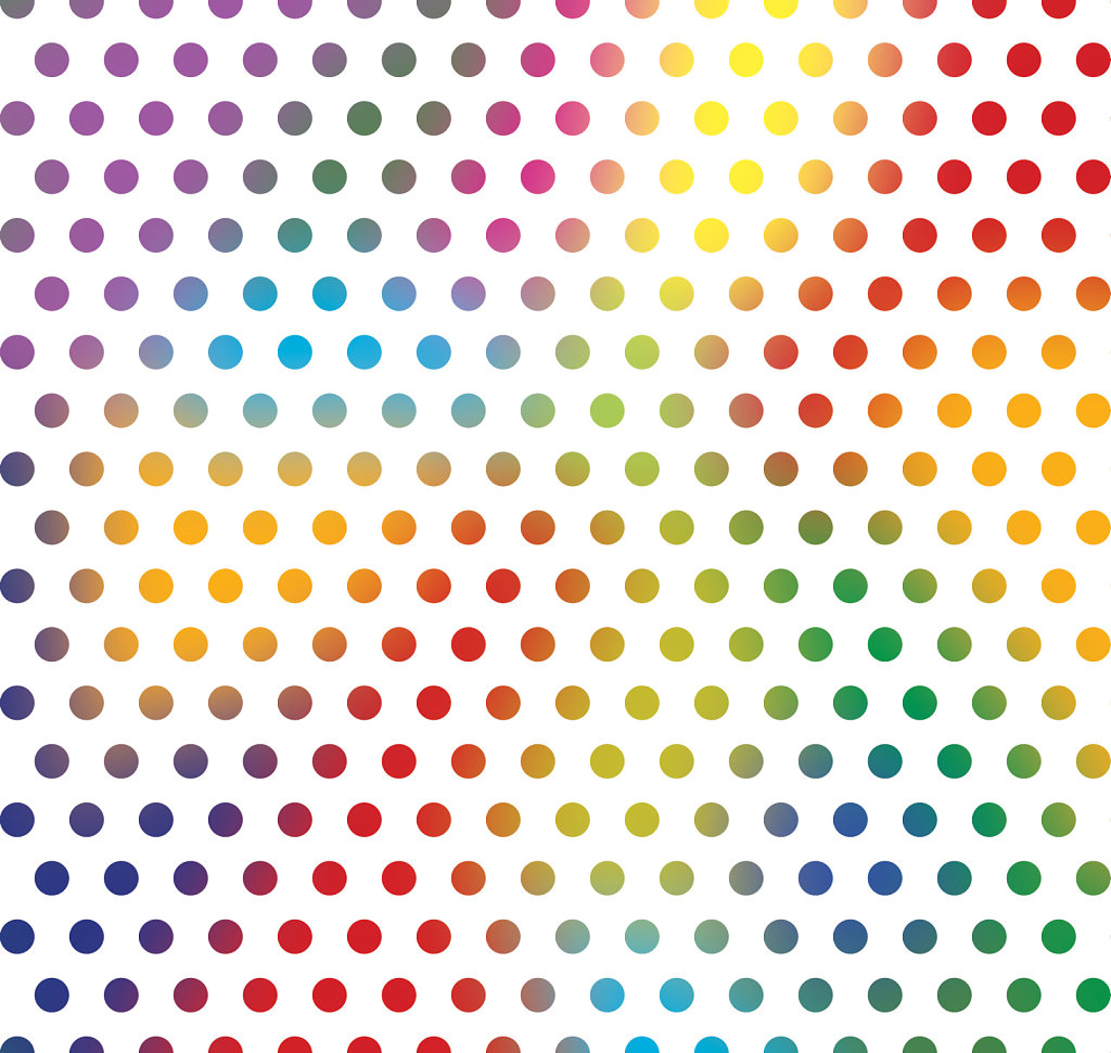 Colorful polka dot background in rainbow