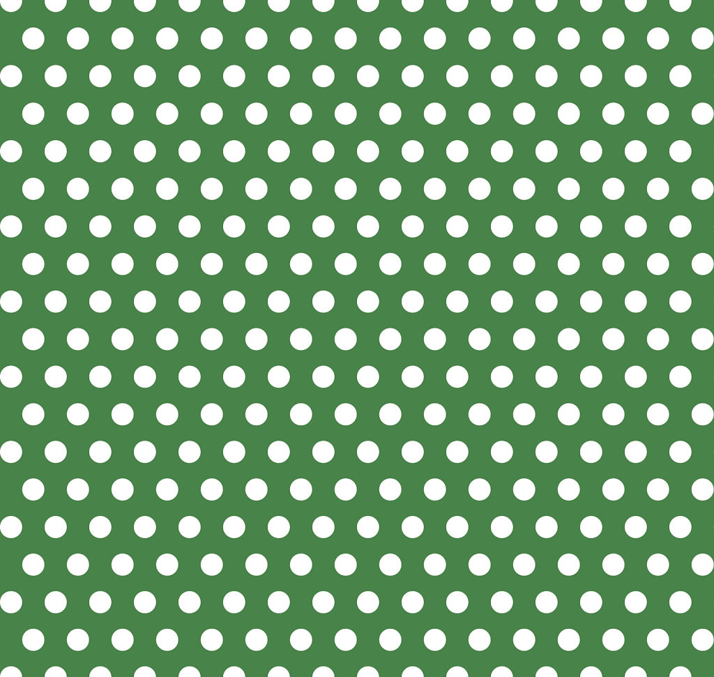Emerald green background with white polka dots