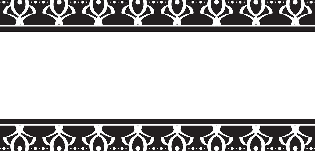 Art deco inspired black and white top bottom border