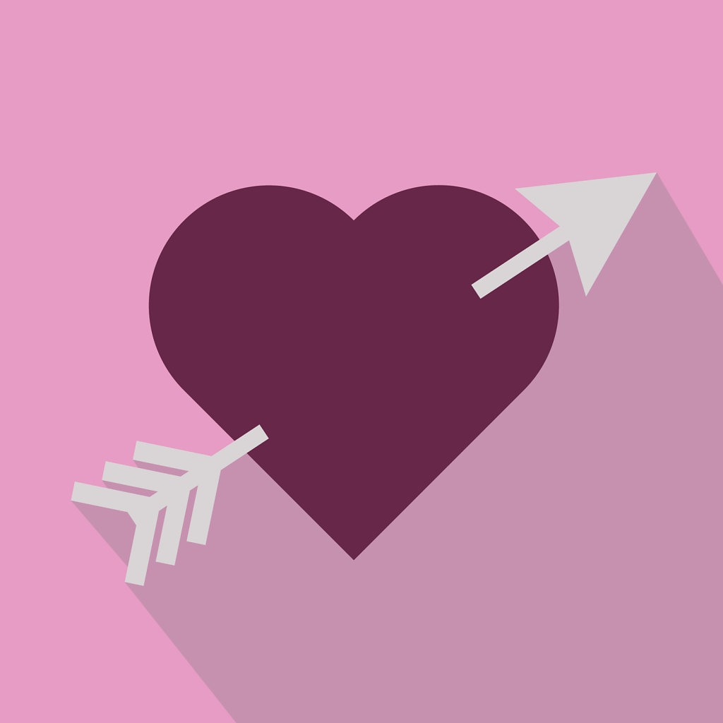 Flat design heart with an arrow going through