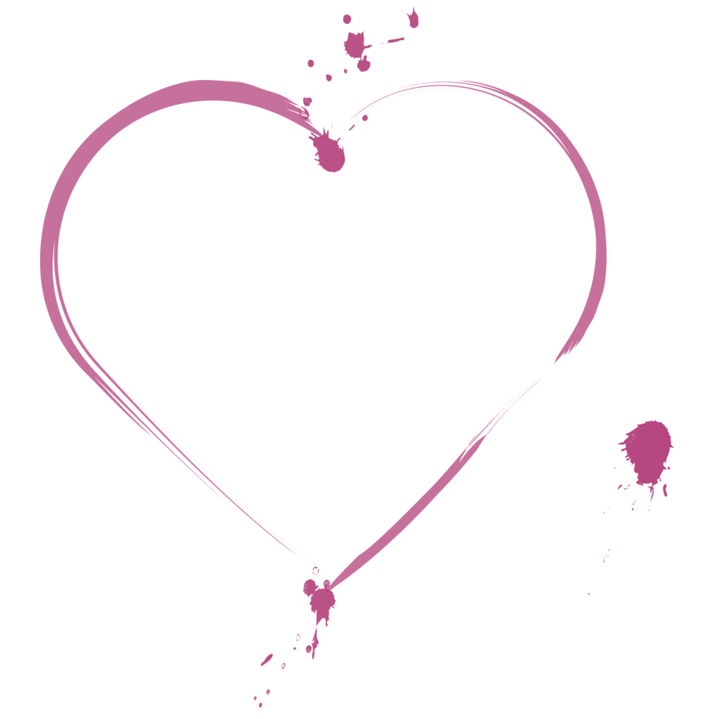 Pink splattered heart illustration on a transparent background