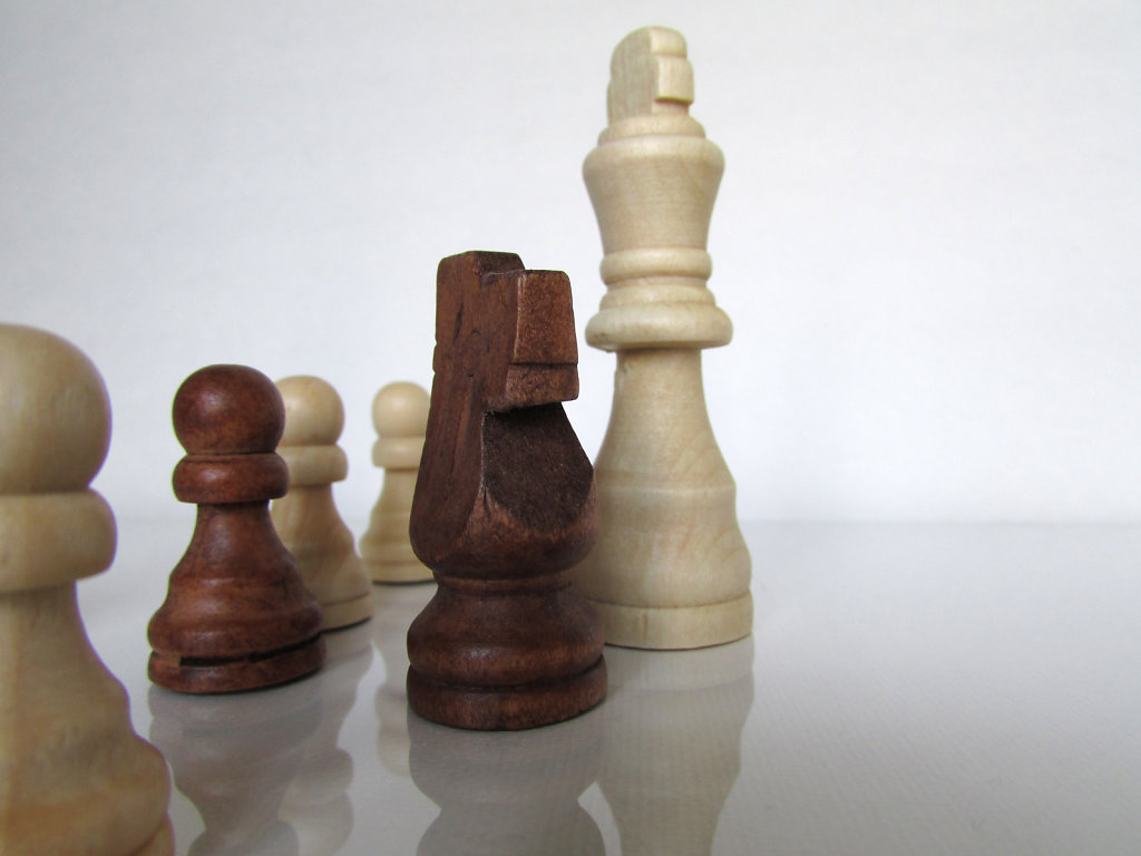 Natural and stained wooden chess pieces on a white gloss surface