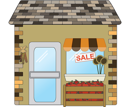 Autumn season small business shop icon