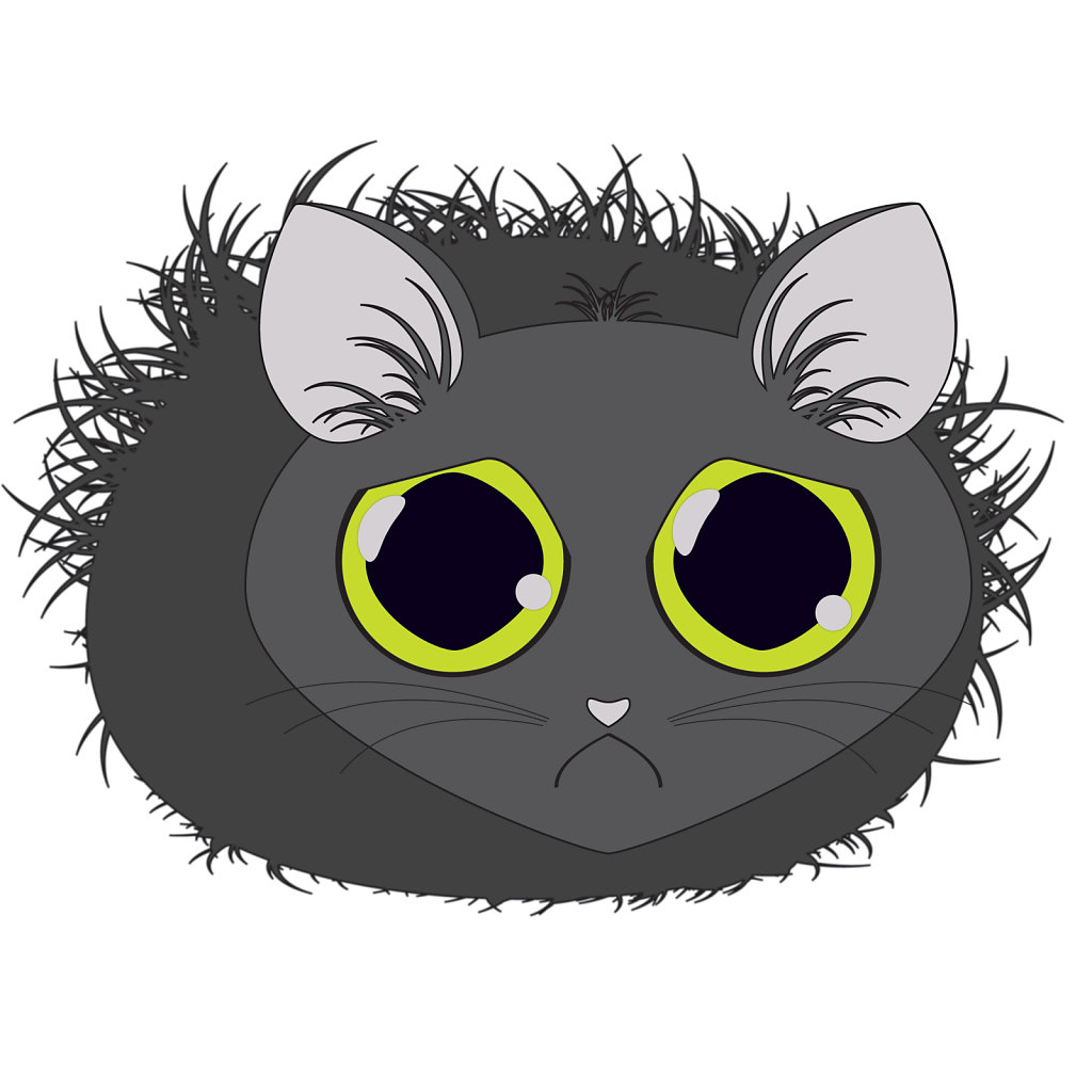 Sad cat illustration with huge eyes