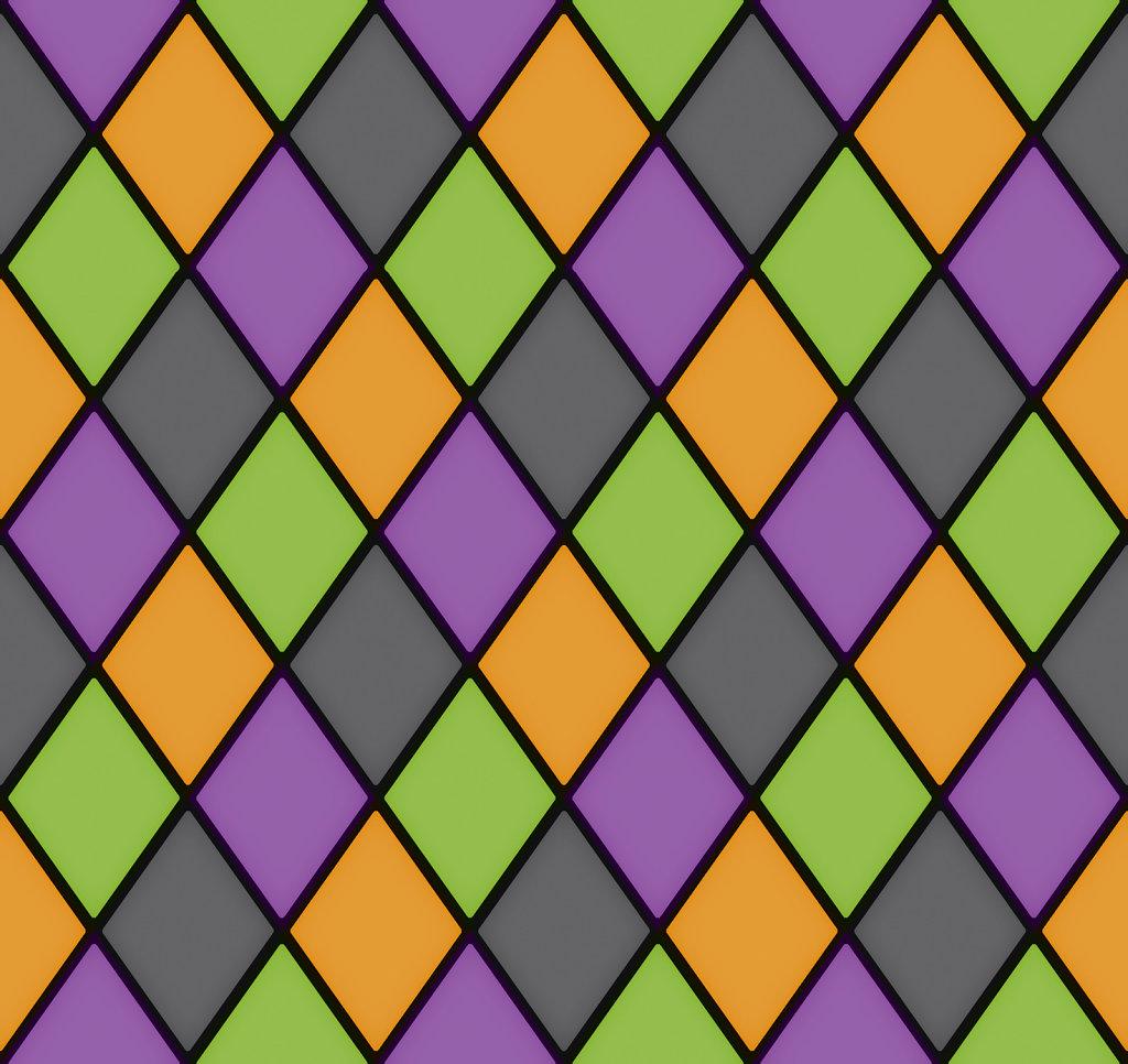 Seamless diamond pattern in orange, gray, purple and green