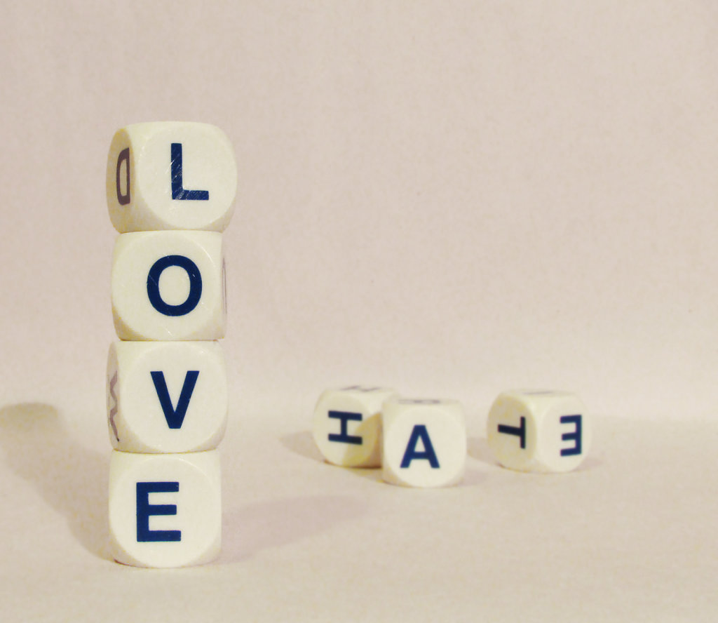 Love and hate letter cubes stacked