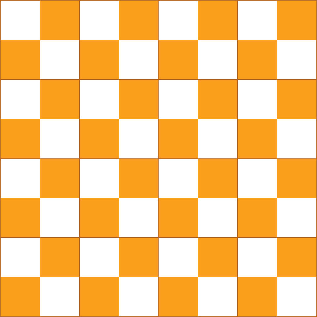 Orange and white checkered squares