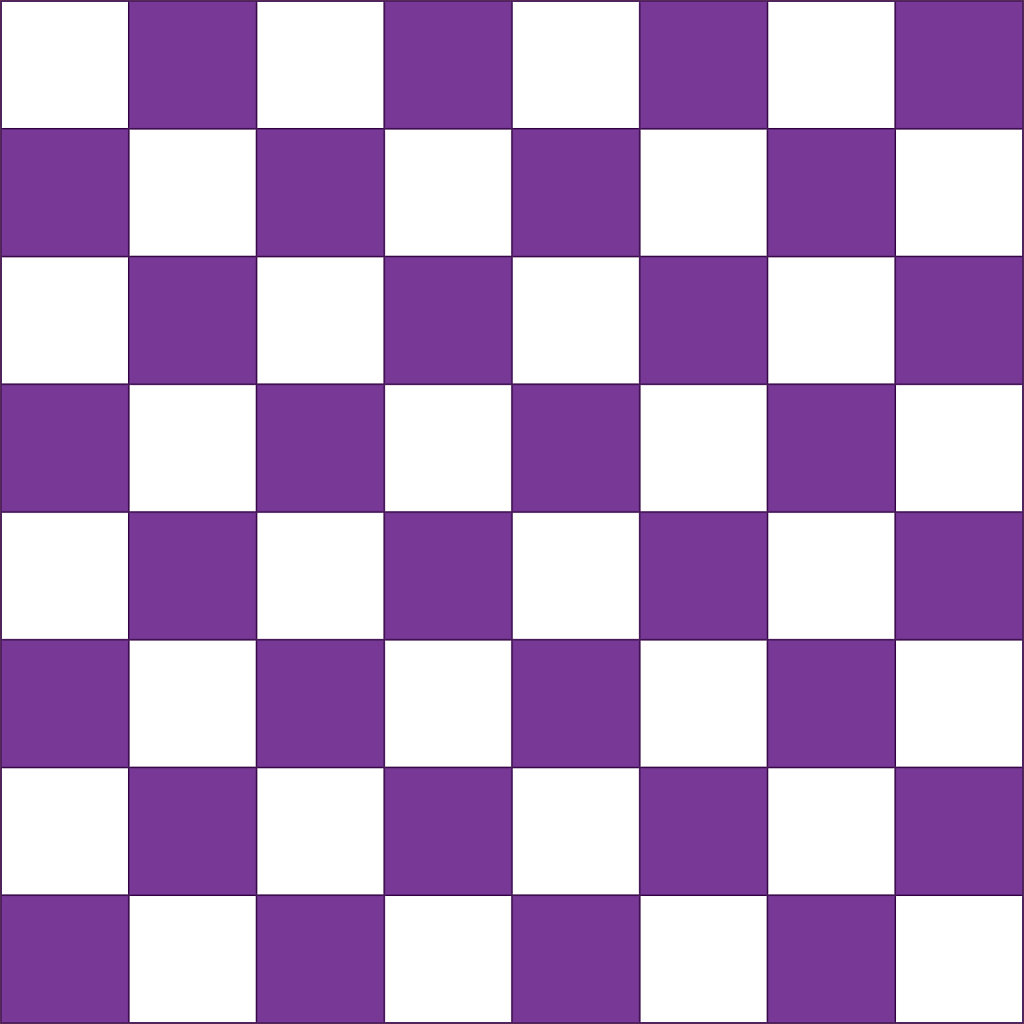 Purple and white chessboard pattern