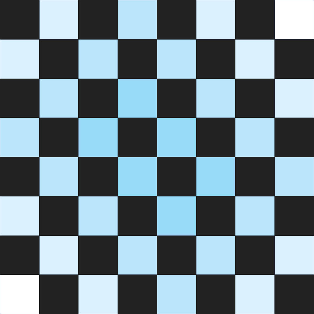 Blue gradient on black checkers