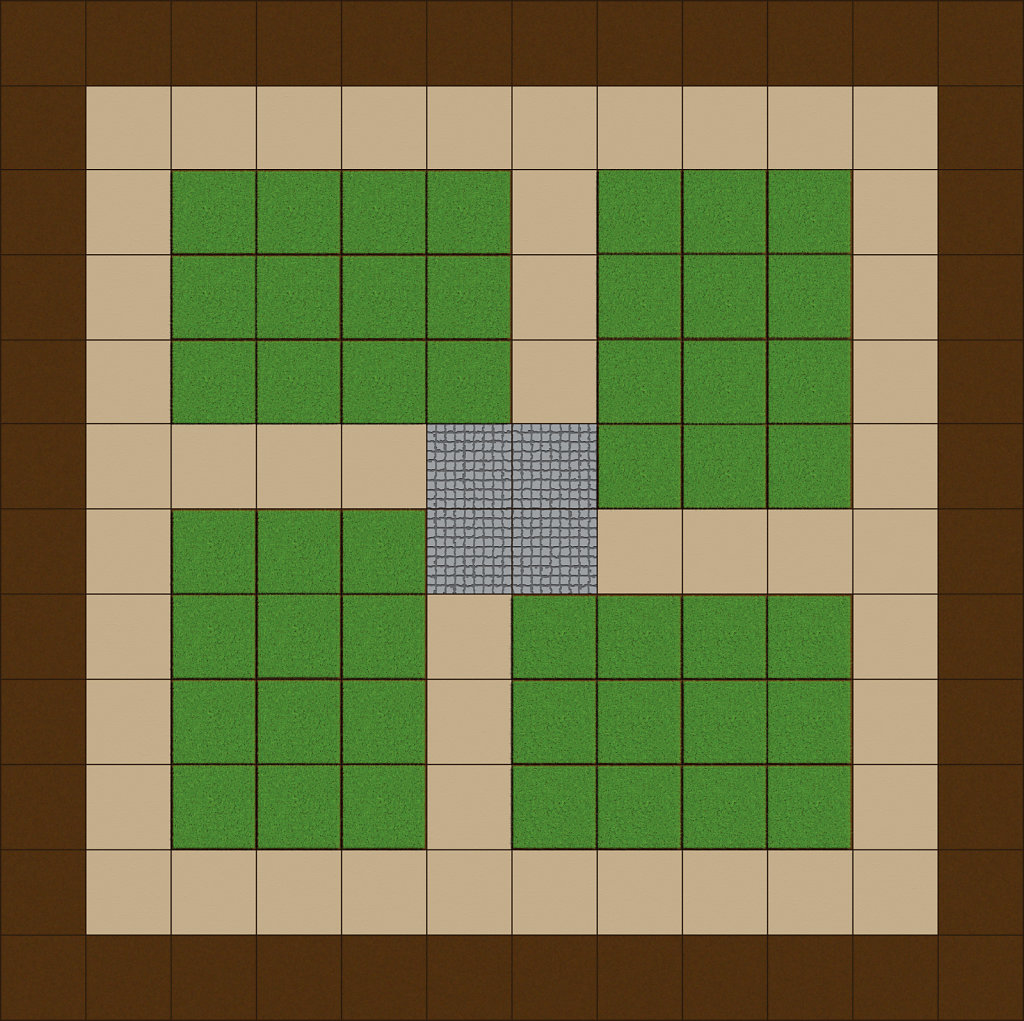 Starter board game with path and grass
